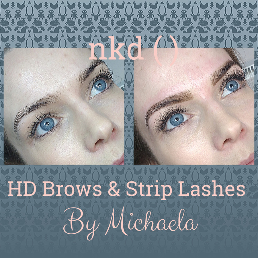 HD brows and strip lashes before and after - by Michaela