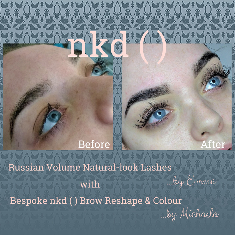 Russian volume lashes by Emma and brow reshape and colour by Michaela - before and after